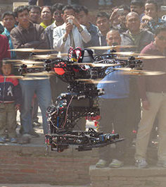 Flying Drone with Stereo 3D cameras at Pashupatinah Temple Kathmandu / Nepal